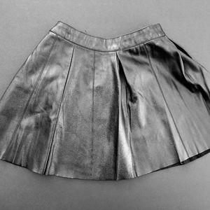 Pleather skater mini skirt
